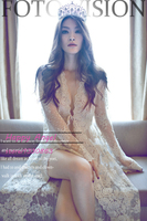 Royal Pregnant women Photography Fashion Props Long Lace Dress Queen Style sexy Romatic Beige Color photo shoot Nightdress