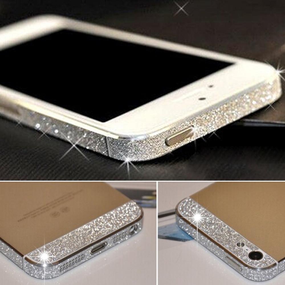 Luxury Colorful Glitter Bling Diamond Full Body Side rhinestone sweets deco phone bling diamond sticker case for iphone 5 5s(China (Mainland))