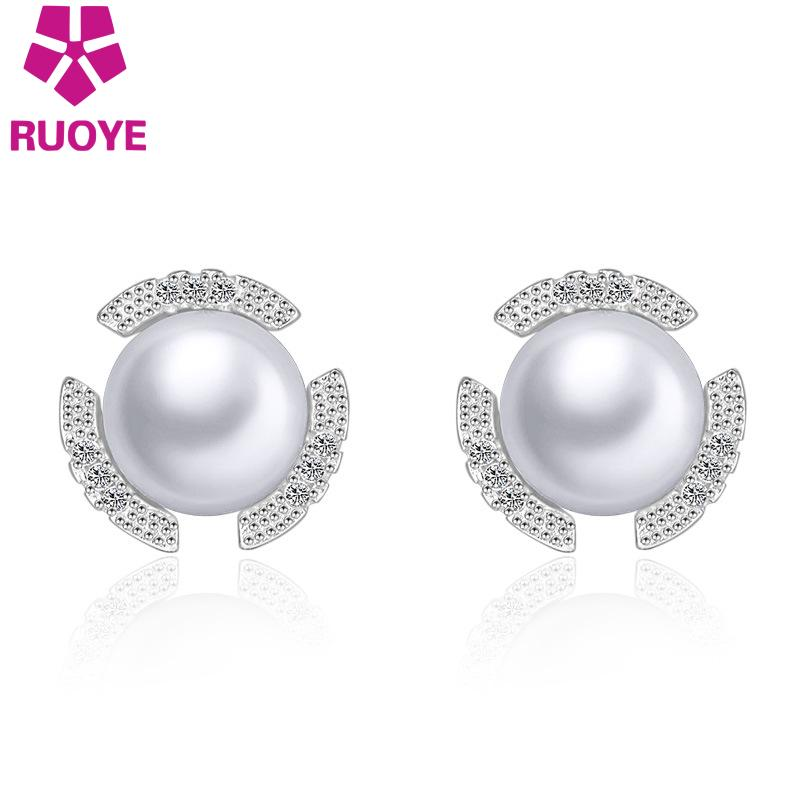 Fashion Jewelry High Quality Simulated Pearl Stud Earring Crystal Inlay Earring For Women Silver Jewelry For Girl(China (Mainland))