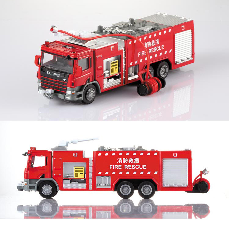 1 Pcs Alloy Engineering Fire Engine Vehicle Model 1:50 Water Fire Truck Ladder Support Original Die Cast Model Toy For Boys Gift(China (Mainland))