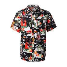 2019 новый бренд мужские с коротким рукавом пляжный Гавайские рубашки летние хлопковые повседневные цветочные рубашки плюс размер 6XL мужская...(China)