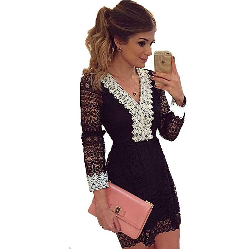 Elegante manga comprida Lace Sexy mulheres Vestido magro cintura Vestido De Festa meninas vestidos Crochet VNeck do Vintage feminino Vestido Plus Size