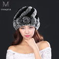 New Russia winter fur hat Rabbit Fur Women Warm fashion Lady Beanie Hat Handmade knitted hat