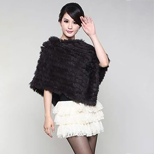 Women's Winter Fashion Luxury Soft Warm Faux Rabbit Fur Shawl Cape Coat Poncho