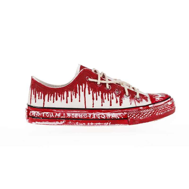 Low of European Gothic Punk breathable hand-painted shoes, canvas shoes, casual shoes and personality lovers<br>