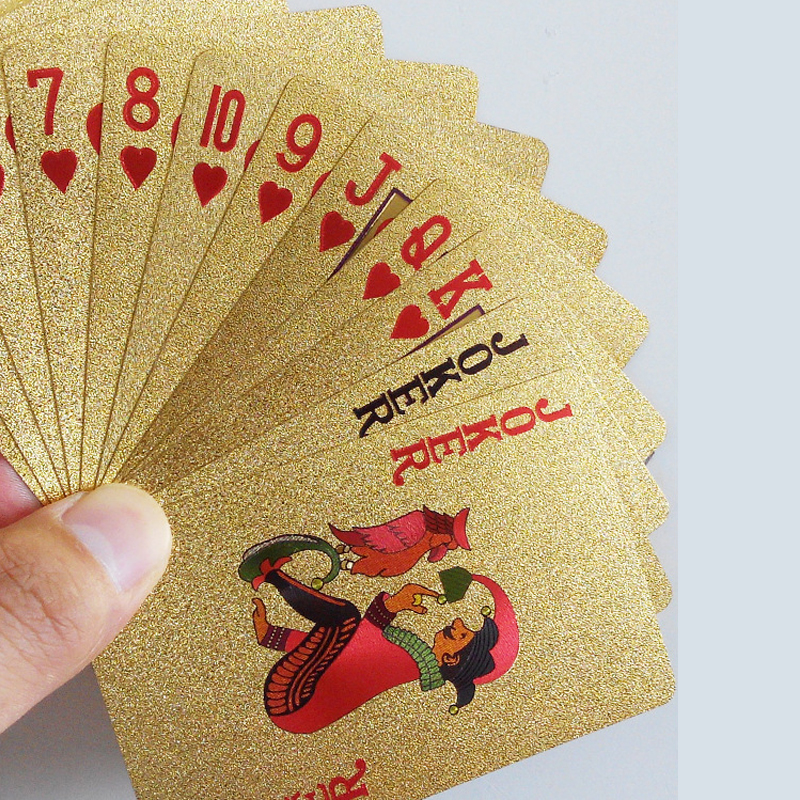 Gold Foil Poker Card Waterproof Gold Color Playing Card Texas Poker Box(China (Mainland))