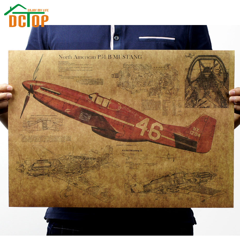DCTOP Vintage Fighter Air Plane Poster Living Room Kraft Paper Wall Stickers Home Decor Decorative Creative Design(China (Mainland))