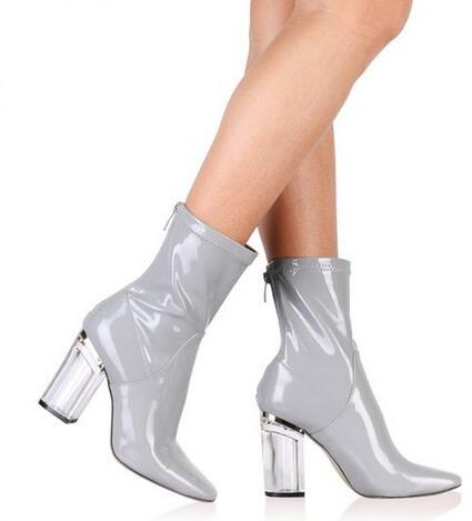 2016 fashion summer Transparent heel Ankle women Boots Patent leather Thick heel Short Booties size 10 Designer hollow out heels(China (Mainland))