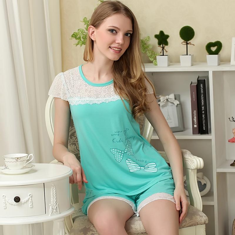 2015 new summer short-sleeved knit cotton pajamas suit women pajamas 5502(China (Mainland))