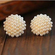 Free Shipping $10 (mix order) New Fashion Vintage Korean Full Pearl Peach Heart Earrings E467 Jewelry(China (Mainland))