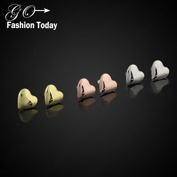new Fashion Chic Boutique Wholesale Cute Heart Stud Earrings For Women Gold Plated Party Lady Earrings E103(China (Mainland))