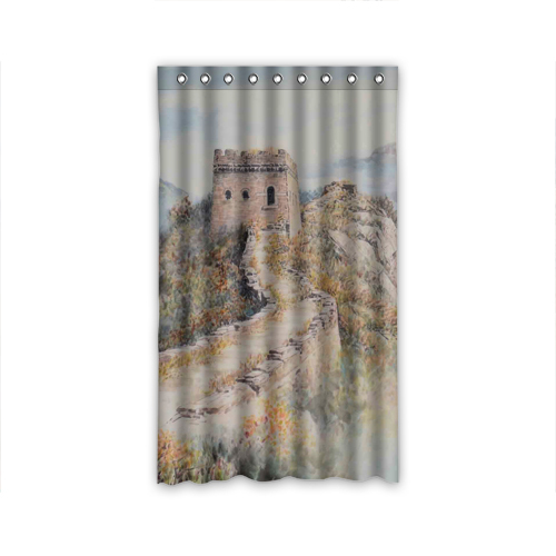 2015 New Window Curtain For Living Room Bedroom about china ink and wash painting The Great Wall curtain custom shipping(China (Mainland))