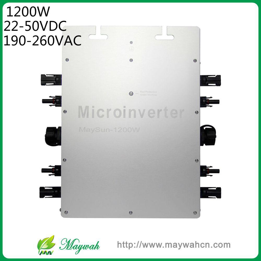 Maywah@MaySun 1200W Waterproof Solar Power Micro Inverter, 22-50V Micro Grid Tie Inverter with 4 MPPT great efficiency(China (Mainland))