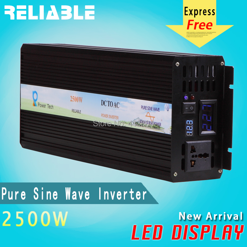 Reliable LED Display High frequency 2500W Off Grid inverter Pure Sine Wave solar power inverter 12V 220V dc ac power converter(China (Mainland))