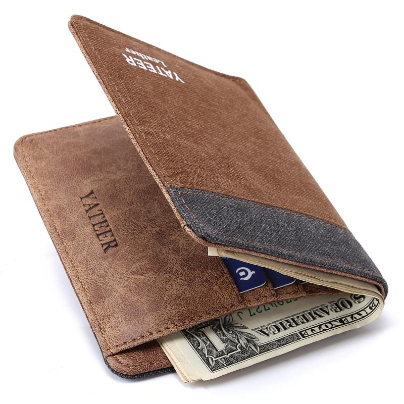 Гаджет  Vintage coffee short male genuine leather wallet slim soft leather money clips men wallet None Камера и Сумки