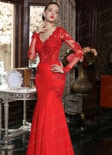 Real Photos Formal Party Gown Mermaid V Neck Beaded Floor Length Chiffon Long Sleeve Red Evening Dress With Appliques MF368(China (Mainland))