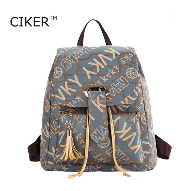 CIKER Винтажной Моды сумка mochila рюкзак путешествия школьные женщины рюкзак холст ...