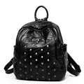 Edgy Rivets Fashion Color matching Backpack Women Preppy Style Sheepskin Travel Bag Designer Patchwork New Trendy