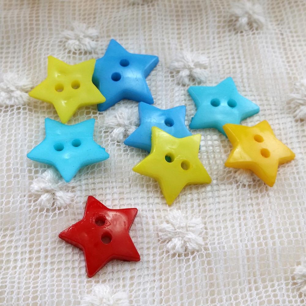 1000pcs/lot Candy Colors Plastic Buttons Star Shape 15mm 2-hole Scrapbook / Kids Clothes / DIY buttons(China (Mainland))