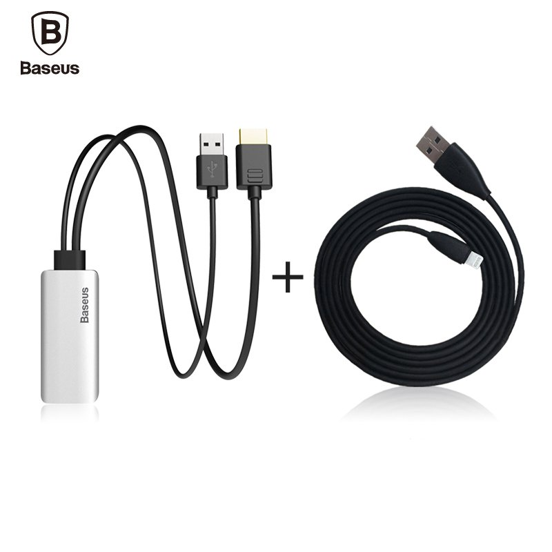 Baseus HD Display Adapter Audio Cable Lightning Male To Male HDMI 1080P For iPhone 7 6 Plus IOS 10 9 TV Computer Projector(China (Mainland))