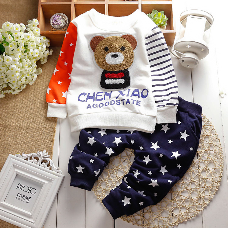 2015 New cotton autumn children baby clothing set infant boys girls Embroidery bear suits shirt+pants sets for Roupas de bebe(China (Mainland))
