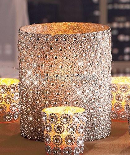 "Hot Sale Silver 3.75""*15FT(5Yards) 6Rows Sunflower Diamond Mesh Bling Crystal Ribbon Wrap Trim Wedding Cake Candle Decor(China (Mainland))"