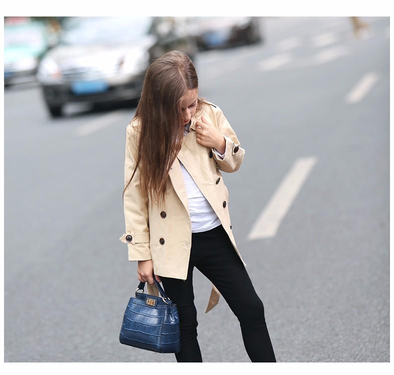 Скидки на 2016 Осень Девушки Длинные Рукава Бурелом Европейский Стиль Пальто Зимняя Куртка для подростки Age4 5 6 7 8 9 10 11 12 Т Лет