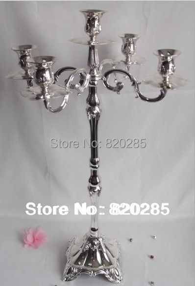 Wholesale silver plated 5-arms metal candelabra, 63cm height floor candle holder, wedding candlestick(China (Mainland))