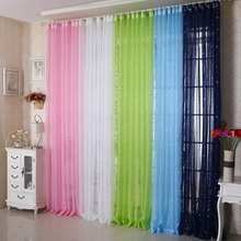2014 new arrival modern finished curtain 2,x2.5 window curtain living room colorful star sheer window curtain with valances(China (Mainland))