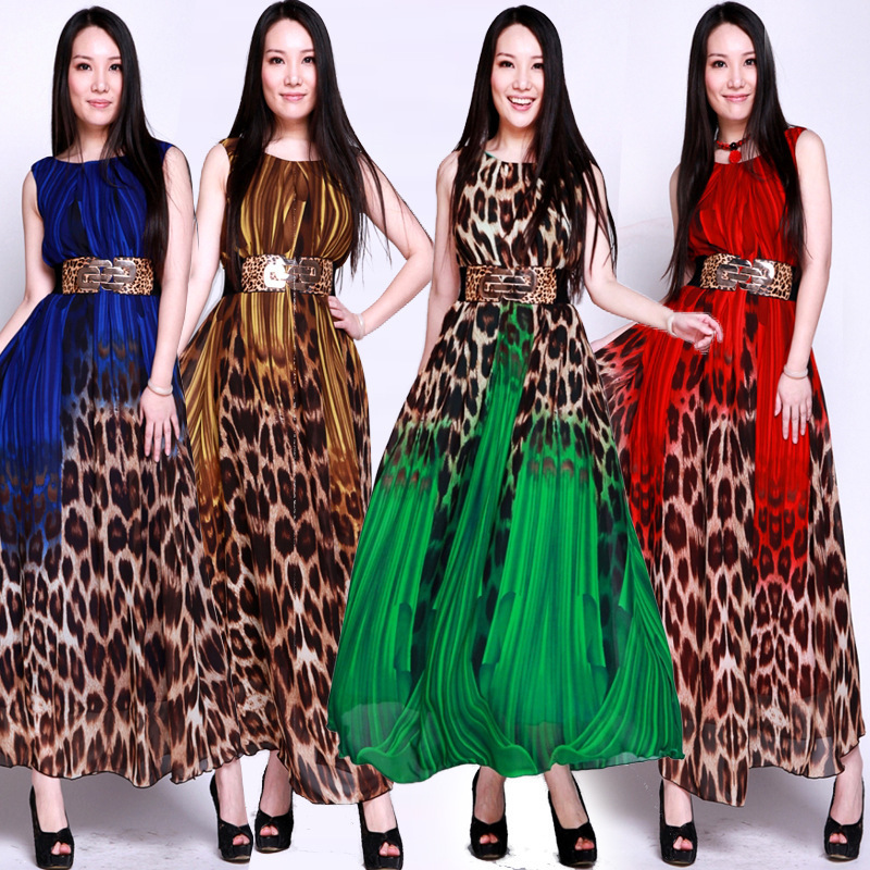 8 Colors 2015 Summer Women Chiffon Empire Leopard Vintage Long Dress With Sashes(China (Mainland))