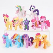 Conjunto meu pequeno pônei brinquedos mini pônei figuras de ação pvc conjunto arco-íris traço crepúsculo faísca maçã jack spike o dragão bonecas(China)