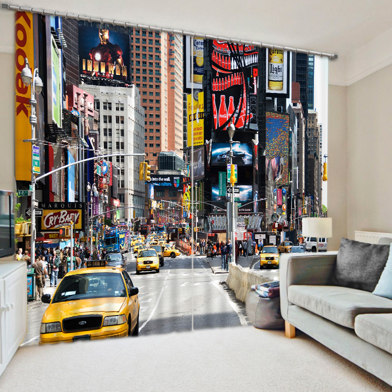 London Street bus graphic arts digital 3D shading finished curtains hotel supplies(China (Mainland))
