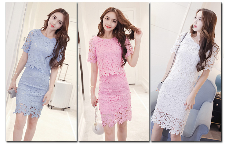 Women Lace Set  O Neck Crop Tops And Skirt Hollow Out Female Suit White Blue Pink 2 Pieces (13)