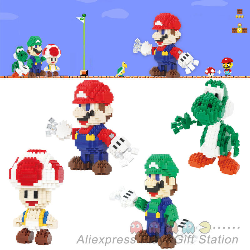 Super Mario Action Figure Luigi Yoshi Mushroom Kinopio Nano blocks models 3D brick Christmas Present Gift  Toys<br><br>Aliexpress