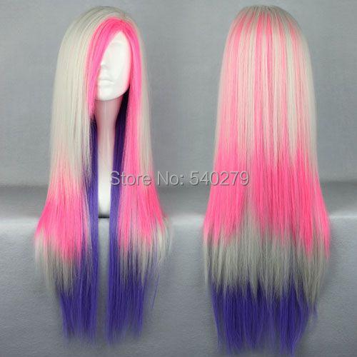 80cm Long Straight Multi-Color Beautiful lolita Anime Wig Blonde Pink Blue Lolita Cosplay Wigs bangs Japan Harajuku - HD online Store store