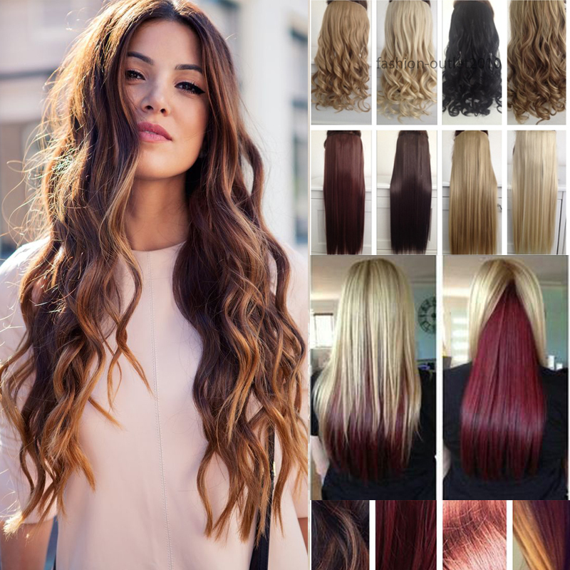 Hot Sale Clip in Hairpieces 5Clips-in Synthetic Hair Clip in Hair extensions Blonde Browm Black Free Shipping with More colors<br><br>Aliexpress