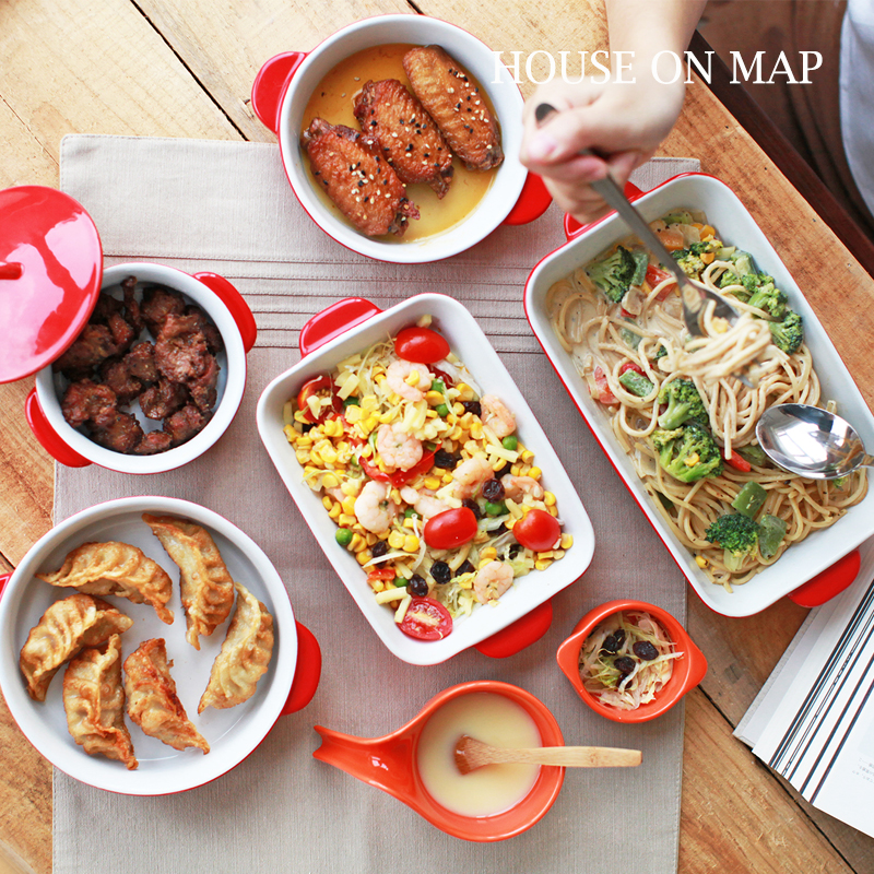 Brand Glaze Ceramic Bakeware Set For Baking Tray Cheese Plates Double Ears Spaghetti Dishes Lasagna High Quality 5pcs Sets Red(China (Mainland))