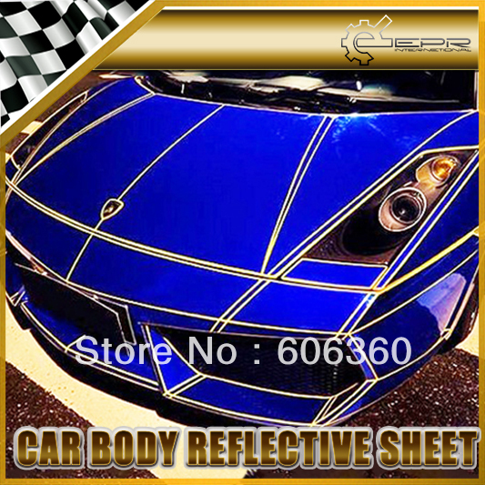 45m Car Body PVC Yellow Reflective Sheet Vinyl Moulding Trim Film Water Proof 3M Tape Universal JDM(China (Mainland))