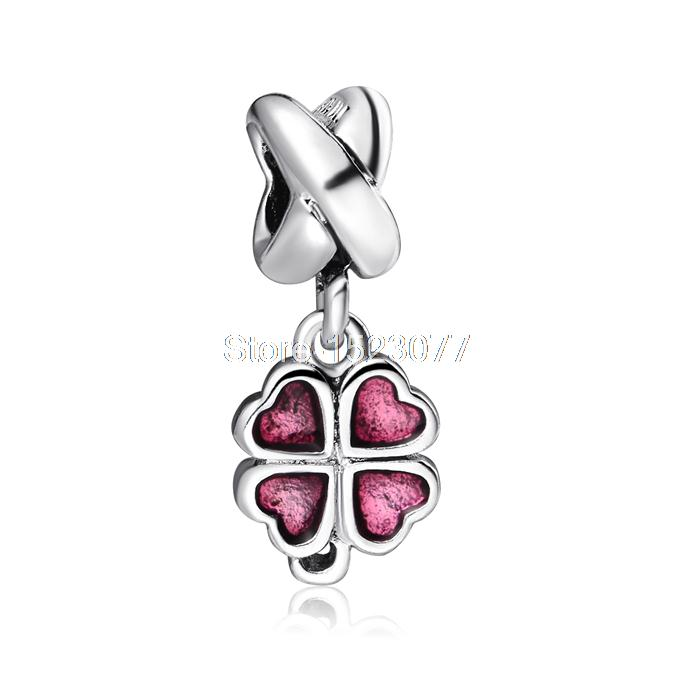 Vintage Red Love heart leaf style 925 Sterling Silver European Screw Bead Charm Custom pendant Jewelry For Snake Bracelet Chain(China (Mainland))