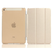 For Apple ipad mini 4 PU Leather Magnetic Front Smart Cover+Crystal Hard Back Case Shell/TPU Solid Color Soft Case pair/lot(China (Mainland))