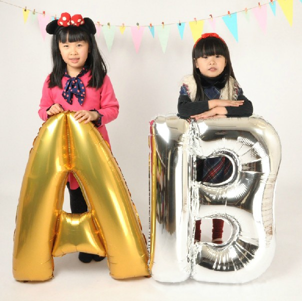 Wholesle 5pcs/lot 40 inch big gloden sliver A-Z figure foil balloons letter balloons for Wedding Birthday Party free shipping(China (Mainland))
