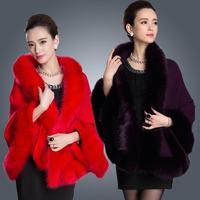 2015 Winter Womens Leather Grass Fox Fur Collar Poncho Cape Bridal Wedding Dress Shawl Cape Lady Wool Vest Fur Coat