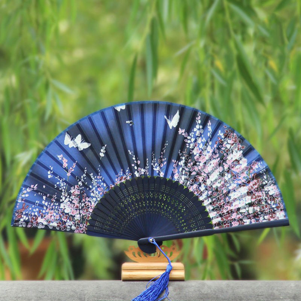 Chinese Folding Hand Silk Bamboo Fan Japanese Sakura Butterfly Flower Print Bamboo Antique Fan Elegant Hand Fans Supplies HG0217(China (Mainland))