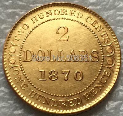 1870 Canada 2 Dollars gold coins copy Free shipping(China (Mainland))