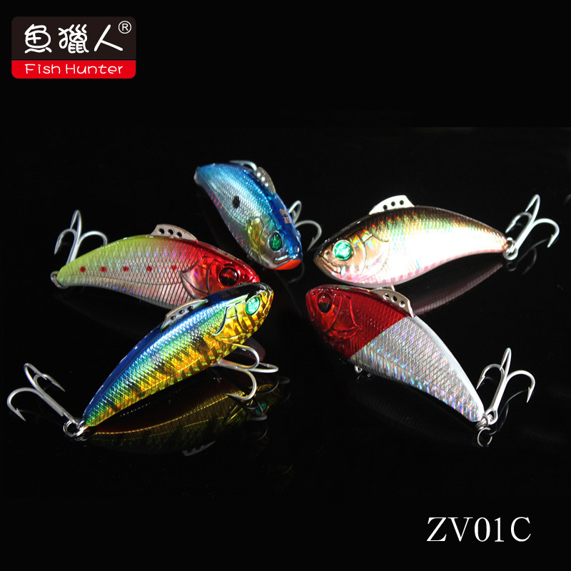 Free Shipping Fish Hunter axe hard bait vibration Vibration ZV01C 60mm 12 5g swimming layer lure
