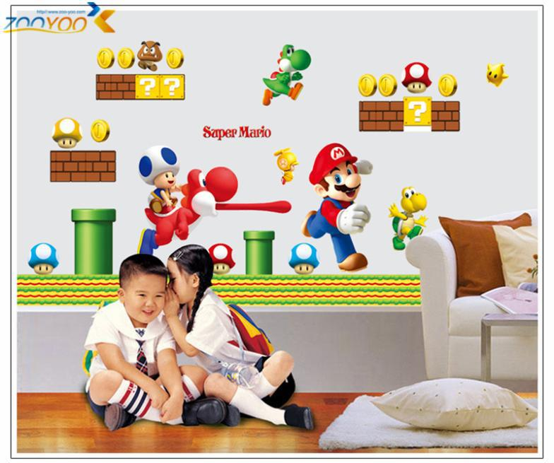 Game hot wall decals wall stickers Super Mario tag site  50 * 70 wall decor kindergarten birthday creativity  home decor