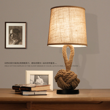 American country Retro individuality The Nordic Style Sitting room Study Bedroom bedside lamp decoration Hemp rope Table lamp(China (Mainland))
