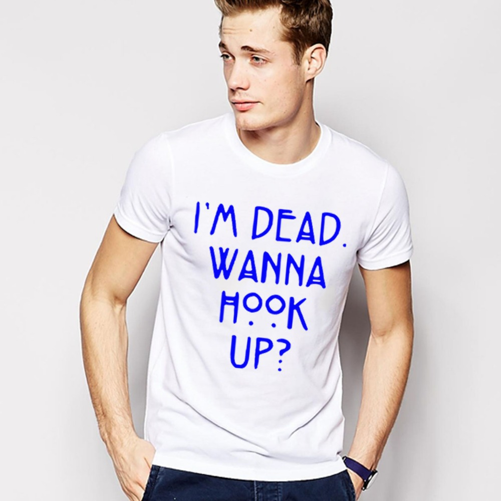 I'm Dead Wanna Hook Up T Shirts Men American Horror Story ManT-Shirt Cotton O Neck Camisetas Mens tshirt Free Shipping Tops(China (Mainland))