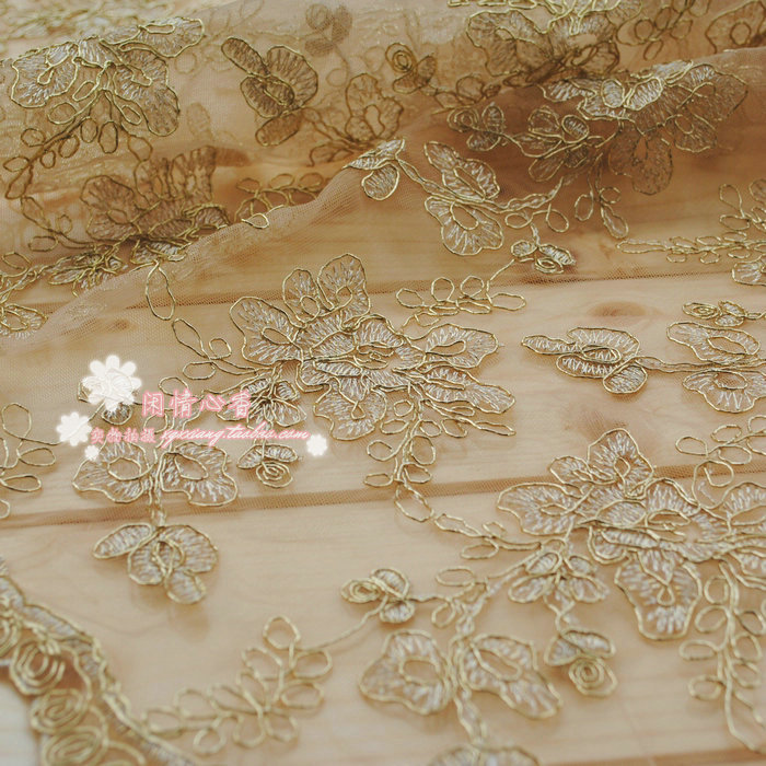 (2yards/pack) Light beige bone spur lace car full of gold lace fabric, garment accessories, lace cloth 120 cm wide RS64(China (Mainland))