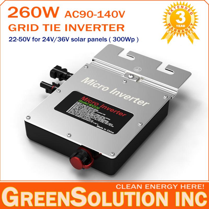 3 Years Warranty, 260W Grid Tie Micro Solar Inverter DC22-50V to AC90-140V MPPT On Grid Inverters for 300W 24V/36V Solar Panel(China (Mainland))
